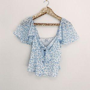 Blue cheetah blouse top